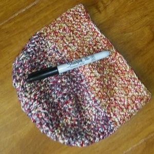 small brown red Handmade crochet beanie